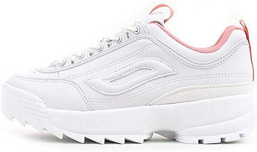 Womens Chunky Trainers Retro Sneakers White Sole Platform Lace Up Sports