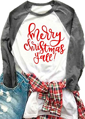 MNLYBABY Women Plus Size Merry Christmas Y'all O-Neck Baseball T-Shirt Long Raglan Sleeve Letters Print Top for Women Size XL (Grey)