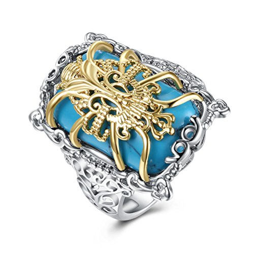 Golden Dragon Pattern Celtic Rings Jewelry Wedding Band For Men Simulated Turquoise by Mrsrui