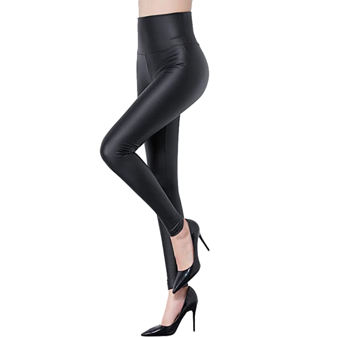 758a40fc2623e Tulucky Women's Sexy PU Leather Pants Stretchy High Waist Leggings (S,  Highwaist-Black