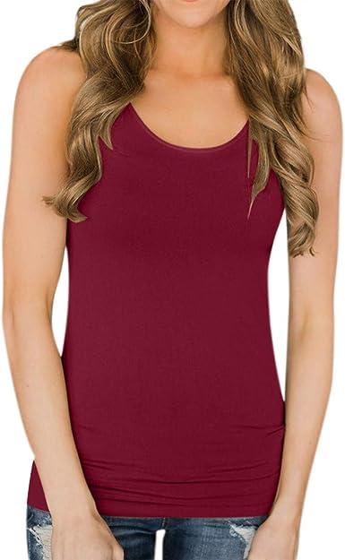 Camiseta de Tirantes básica para Mujer, Camisa Blusa sin Mangas o Cuello Casual Mujeres Basica Camiseta Tops Vino S: Amazon.es: Ropa y accesorios