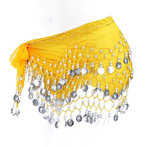 Lilyy Chiffon Dangling Silver Coins Belly Dance Hip Skirt Scarf Wrap Belt (Yellow)