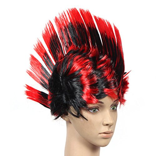 PANDA SUPERSTORE Halloween Costume Party Wigs Mohawk Hair Punk Dress up, Black&Red ()