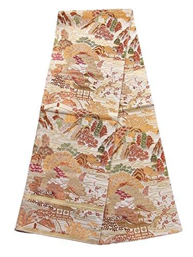 遠洋のグラディス違法アンティーク 丸帯 松竹梅に楼閣風景文 人絹