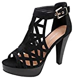 Top Moda Strap Platform Sandal Black, 8