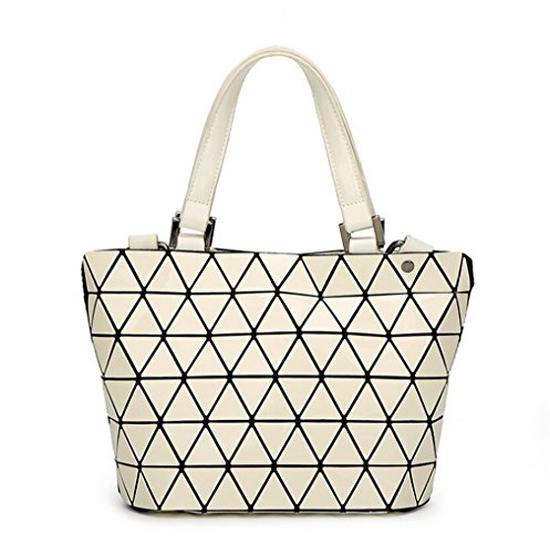Size Casual Mirror Folding Sequins Small White Totes Women Handbag Geometry Big Logo Plain Kaoling Silver Size Famous Bags wxqO1B6