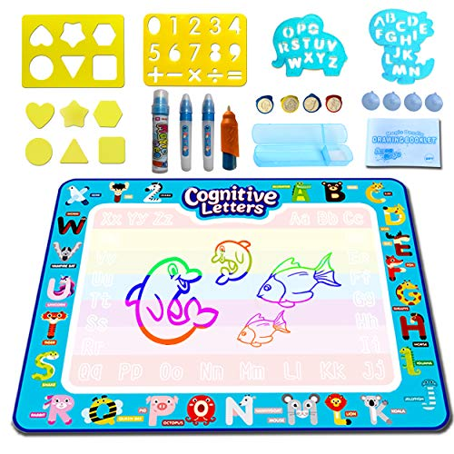 Aqua Magic Water Doodle Mat Extra Large 39.5x31.5 Inch Color Drawing Doodle Mat Early Learning Toy Fine Motor Skills Educational Painting Toy Gift for Toddlers Girls Boys All Children Age 3 4 5 6 7
