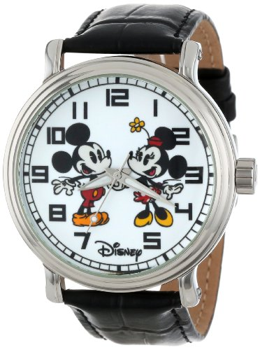 Disney Men's W001012 Vintage Mickey and Minnie Mouse Black Leather Strap Watch