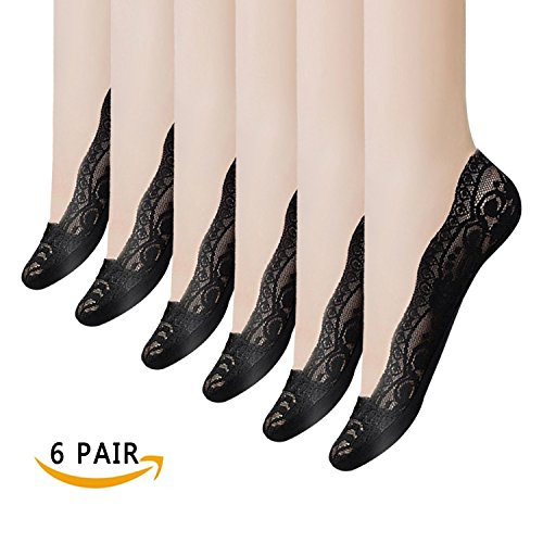 Women's Socks 3-6 Pairs Ultra Low Cut Nylon Casual Socks Slip Resistant Socks. (Black-6) (Womens Flat Dress Shoes)