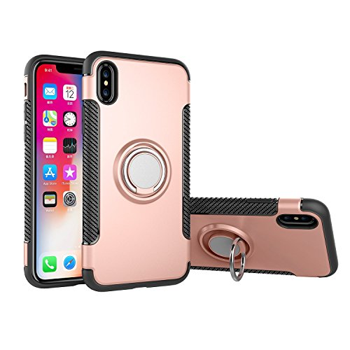 For iPhone 6 / 6S Case,CHEEDAY [Newest] Rugged 2 in 1 Case with Ring Holder Kickstand Drop Protection Cover Soft Rubber Bumper Case for Apple iPhone 6 / iPhone 6S (Rose Gold)