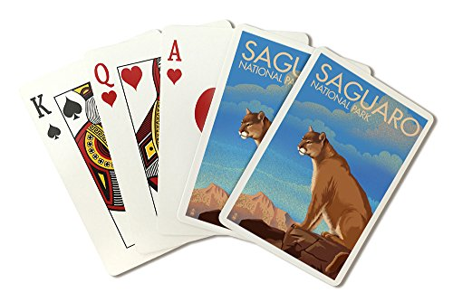 (Saguaro National Park, Arizona - Mountain Lion - Lithograph (Playing Card Deck - 52 Card Poker Size with Jokers))