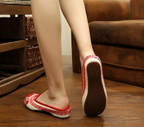 WHH Porcelana azul y blanca Zapatos bordados, lencería, estilo étnico, flip flop femenino, moda, cómodo, sandalias Red