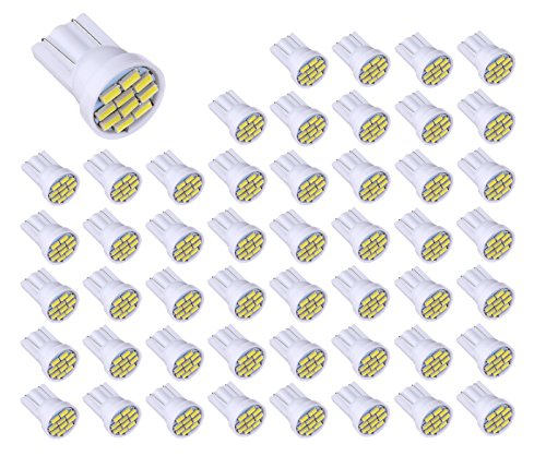 Aucan 12v 50pcs T10 W5W 2825 158 192 168 194 10-SMD 3014 LED Light bulbs Used for Instrument Cluster, Door Courtesy, License Plate Lights, Xenon White by Aucan LED