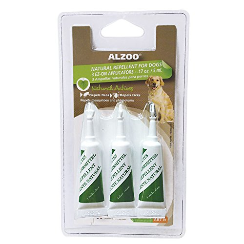 ALZOO Natural Repellent EZ-ON Flea & Tick for Dogs 1-oz blister pack 3-count 3-ml