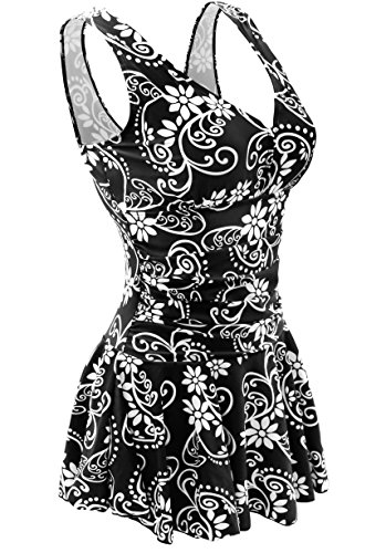 2dde8339dc AONTUS Plus Size Slimming Swimsuits for Women Tankini Swim Dresses Swimsuit  (XXXX-Large,Black Flower)