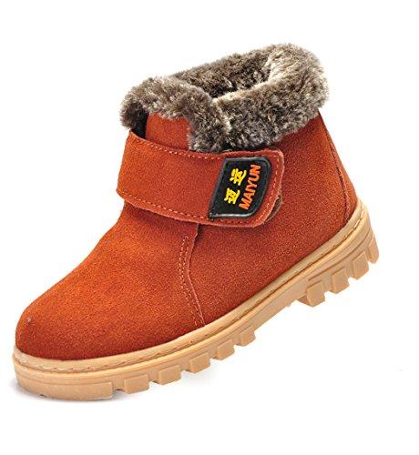 Short Arctic Warm Fur Water Resistant Eskimo Snow Boots Brown -