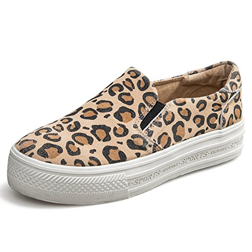 Épaissir Fu Chaussures chaussures Les Paresseux Semelles Lok À C chaussures De chaussures Femmes Plates Leopard Femmes Printemps I01n71g