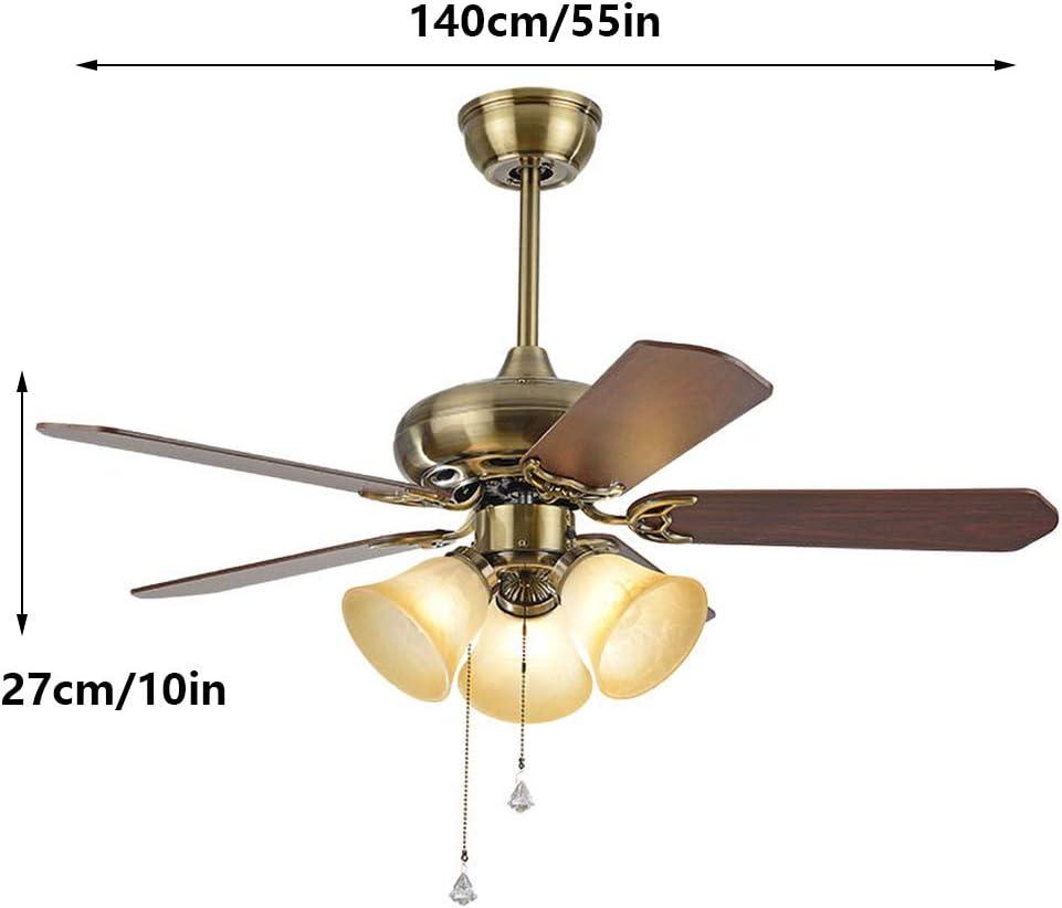 ADFD Ventilador de techo con luz,5 aspas de madera, silencioso, 3 velocidades de ventilación, 140 cm de diámetro, 65 W de potencia: Amazon.es: Iluminación