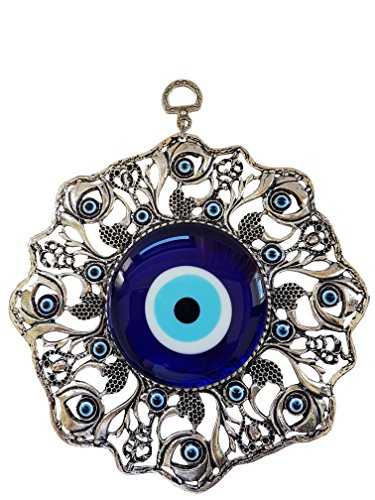 Erbulus Turkish Glass Blue Evil Eye Wall Hanging Ornament - Metal Home Decor - Turkish Amulet - Protection and Good Luck Charm Gift (Colour2) ()
