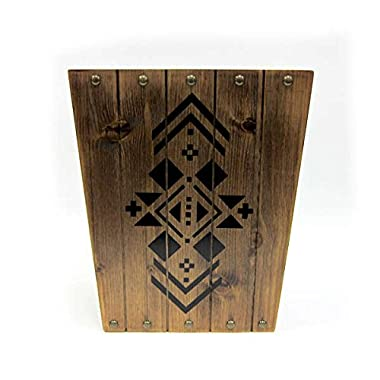 Brown Natural Rustic Country Home Bathroom Wastebasket, Nail Head Accents, Southwest Pattern