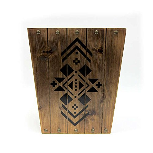 Brown Natural Rustic Country Home Bathroom Wastebasket, Nail Head Accents, Southwest Pattern by excell (Image #1)