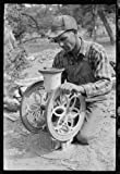 jack and the bean pie - Photo: Jack Whinery grinding pinto beans for chicken feed,Pie Town,New Mexico