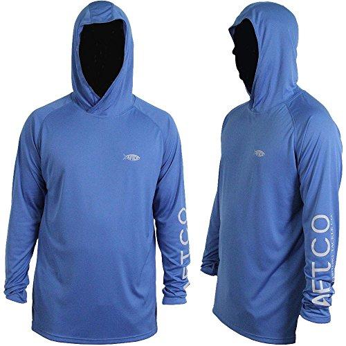 AFTCO Samurai Hooded Performance Long Sleeve Shirt - Royal Blue - 2XL