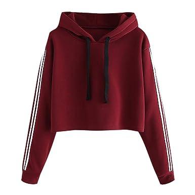 Courte Sweat à Capuche Femme,Fille Sport Manches Longues Pull Haut Automne  Hiver Bringbring  Amazon.fr  Vêtements et accessoires 06467ebdf56f