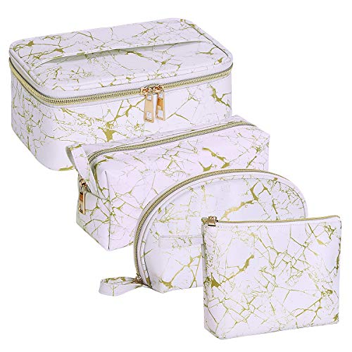 MAGEFY 4Pcs Makeup Bags Portable Travel Cosmetic Bag Waterproof Organizer Multipurpose Case with Gold Zipper Toiletry Bags for Women Girls