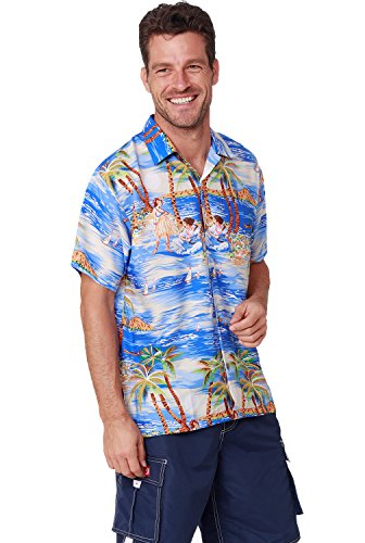 Men's Hawaiian Shirt Button Down Casual Aloha Short Sleeve Beach Shirts (Blue Island, Medium)
