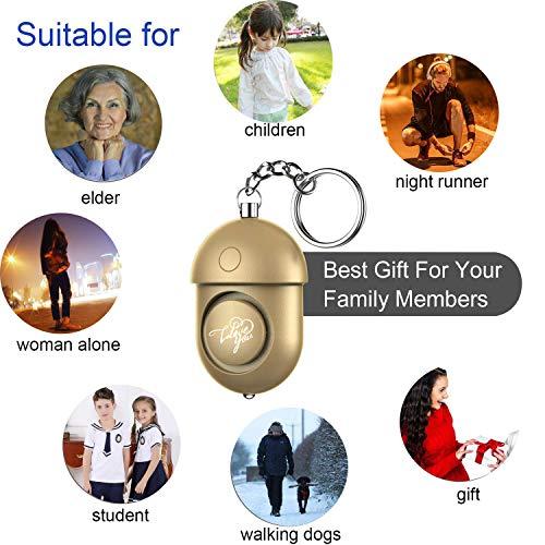 WOSPORTS Safesound Personal Alarm, Safety Alarm Keychain Powerful 130DB/6 Pieces Emergency/SOS Alarm with LED Self…