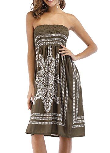 - Bohemian Stylish Totem Print Short Mini Beachwear Summer Dress Army Green M