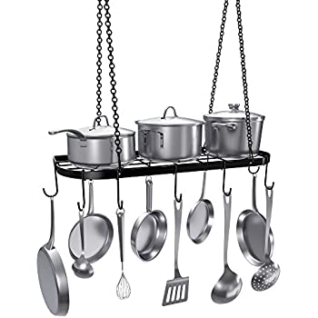Amazon.com: Hanging Pot Rack with Lights: Kitchen & Dining