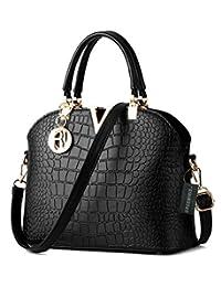Greeniris Ladies PU Leather Totes Bags Crocodile pattern Shoulder Bags Vintage Top-handle Handbags for Women