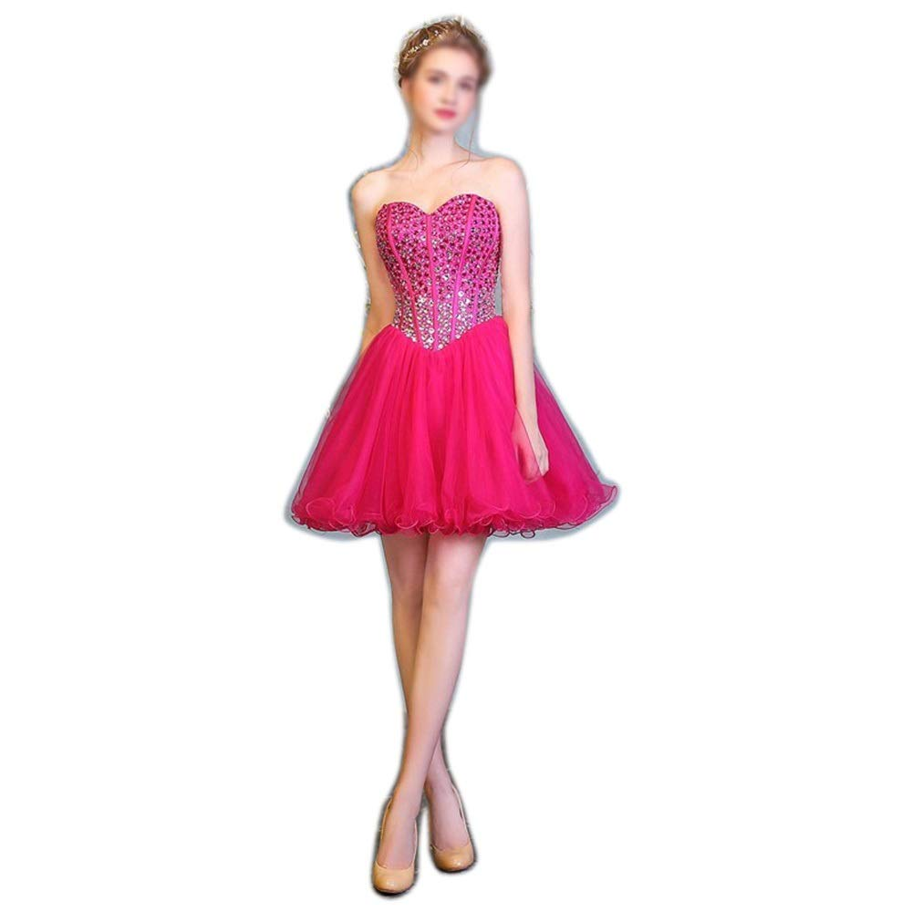 pink red Sububblepper Women's Fashion Off The Shouder Beads Short Evening Dress for Company Annual Meeting Formal Occassion (color   pink red, Size   US20)