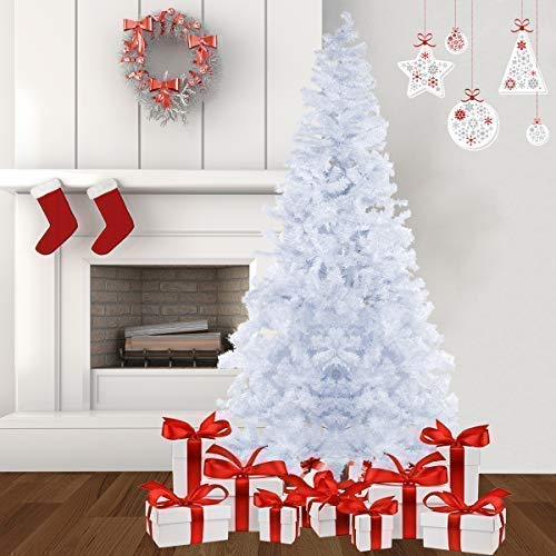 Bocca 8 FT Christmas Artificial Pine Tree Full Branches with Strong Iron Stand Indoor and Outdoor (White)