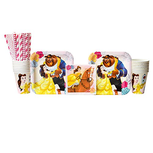 Beauty and The Beast Party Supplies Pack for 16 Guests Including Paper Cups, Paper Dessert Plates, Paper Beverage Napkins, Paper Straws (Bundle for 16) ()