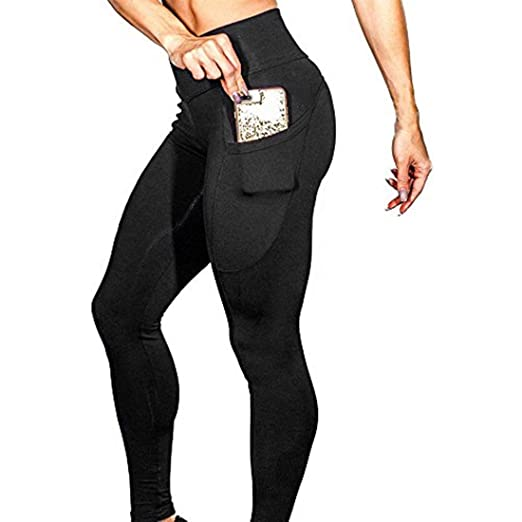 05c924b98ceef PASHY Yoga Pants with Cell Phone Pockets, Women's Solid Workout Leggings  Fitness Sports Gym Running