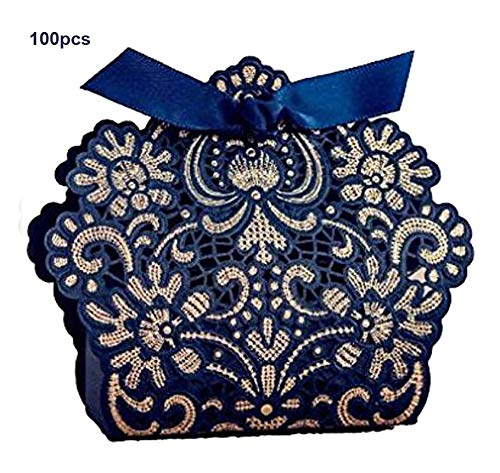 WISHMADE 100pcs Nave Blue and Gold Laser Cut Candy Boxes Party Favors Gift Box for Wedding Guest