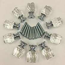 Yahead 10pcs Crystal Glass Door Knobs Rose Shaped Cabinet Cupboard Pulls Handles Drawer Knobs Wardrobe Home Kitchen Hardware 20mm Clear