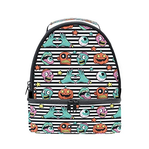Naanle Striped Halloween Pumpkin, Zombies, Lips and Eyeball Double Decker Insulated Lunch Box Bag Waterproof Leakproof Cooler Thermal Tote Bag Large for Men Women Youth]()