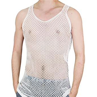 28791dffb85a8 BARGAINS-GALORE MENS STRING MESH VEST FITTED 100% COTTON GYM TRAINING TANK  TOP T SHIRT FISH NET (LARGE