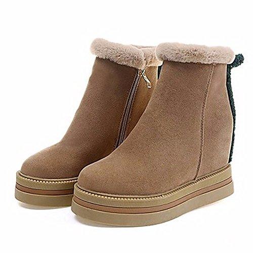 Botas invierno Negro vestir mujer con Caqui para nieve de la Botas para Caqui Zapatos ZHUDJ punta redonda para a8z4wqxUpx