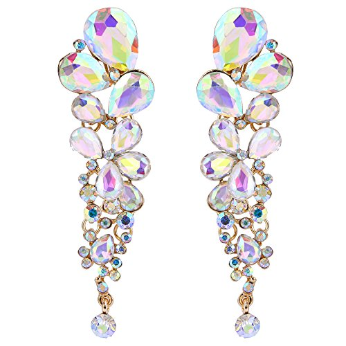 EVER FAITH Women's Austrian Crystal Tear Drop Clip-on Dangle Earrings Iridescent Clear AB Gold-Tone