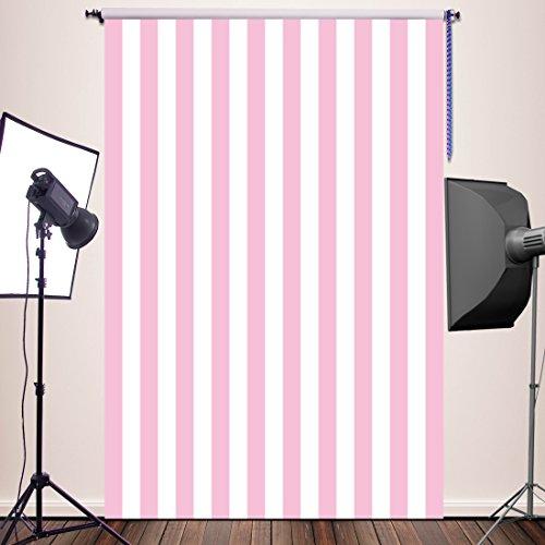 HUAYI Pink White Stripe Background Silk Photography Backdrops Newborn Photo Studio Photo Props 5x7ft YJ-234 ()