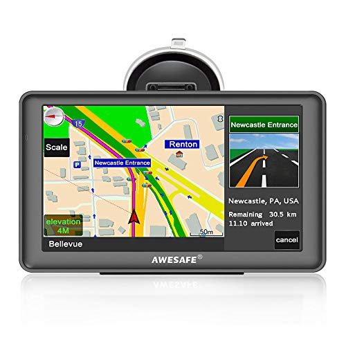 Car GPS Navigation System AWESAFE 7 inch Touch Screen GPS Navigation for  car Life Time Maps Free Update Pre-Installed North American Map