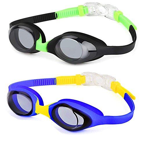 Hurdilen Kids Swim Goggles,2 Pack,Swimming Goggles for Kids Contrast Color Child Swim Goggles (Age 2-8) for Boys Girls,with Leakproof UV Protection Design,Shatterproof Anti-Fog Lens (Black & Blue)
