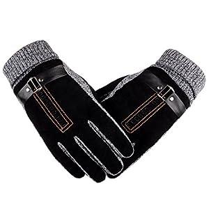 Waterproof Men's Women' Winter Ski Warm Gloves Motorcycle Touch Driving Gloves - black