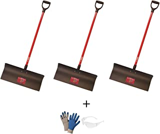 product image for Bully Tools Set of 3 92817 Steel Snow Pusher with Fiberglass D-Grip Handle, 24""