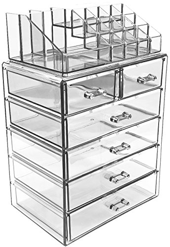 - Sorbus Acrylic Cosmetic Makeup and Jewelry Storage Case Display-Spacious Design-for Bathroom, Dresser, Vanity and Countertop (4 Large, 2 Small Drawers, Clear)